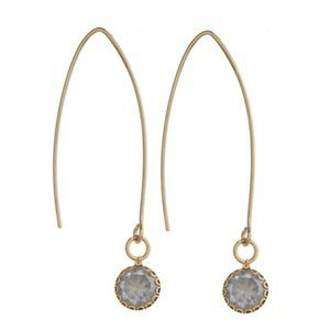 HELENA Gold Threaded Drop Gray Rhinestone Earrings